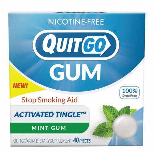 QuitGo Mint Stop Smoking Aid Gum Perspective: front