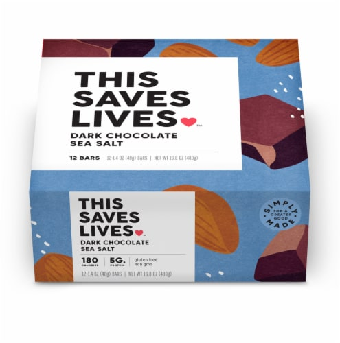 This Saves Lives Dark Chocolate Sea Salt Bars Perspective: front