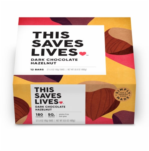 This Saves Lives Dark Chocolate Hazelnut Bars Perspective: front