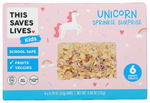 This Saves Lives™ Kids Unicorn Sprinkle Surprise Krispy Treat Bars Perspective: front