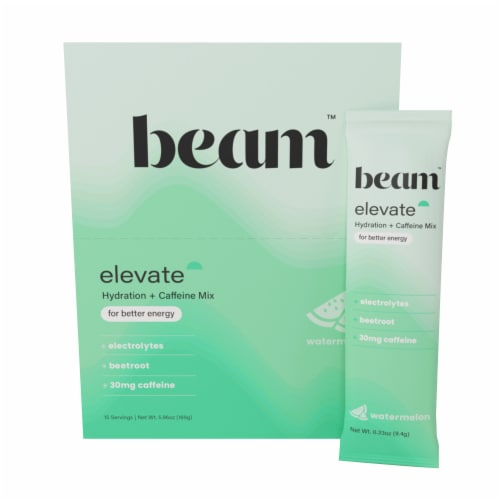 Beam Organics, Elevate Hydration Performance, Watermelon, 15 Single Serve Powder Packets Perspective: front