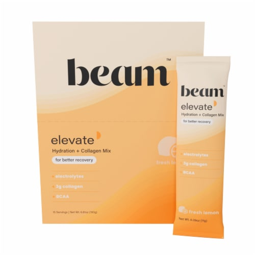Beam Organics, Elevate Hydration Recovery, Fresh Lemon, 15 Single Serve Powder Packets Perspective: front