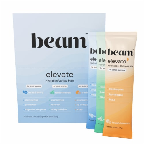 Beam Organics, Elevate Hydration Variety Pack, Balance + Recovery + Performance 15 Single Set Perspective: front