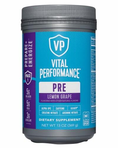 Vital Proteins Lemon Grape Performance Pre Workout Powder Perspective: front