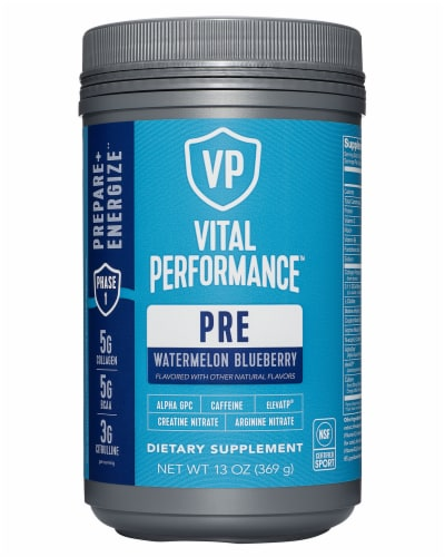 Vital Proteins Watermelon Blueberry Performance Pre Workout Powder Perspective: front