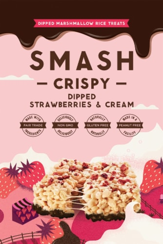 Smash Mallow Strawberries & Cream Dipped Rice Treat Perspective: front
