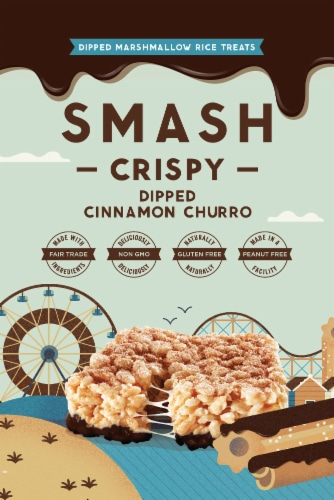 Smash Mallow Cinnamon Churro Dipped Rice Treat Perspective: front