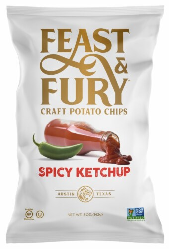 Feast & Fury Spicy Ketchup Craft Potato Chips Perspective: front