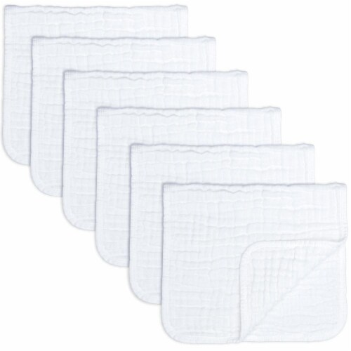 Muslin Burp Cloths 6 Pack Large 100% Cotton Hand Washcloths (White, Pack of 6) Perspective: front