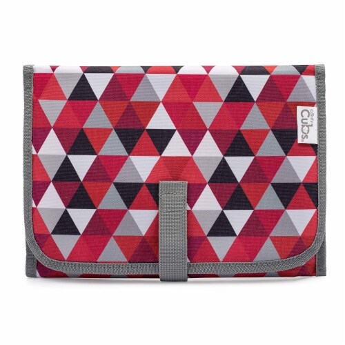 Baby Portable Changing Pad, Diaper Bag, Travel Mat Station, Compact, Red Pattern Perspective: front