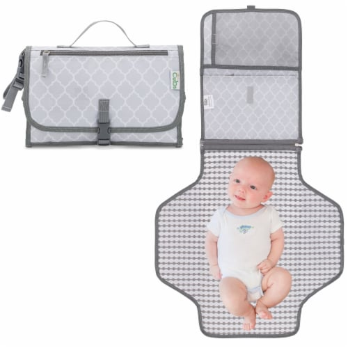 Baby Portable Changing Pad, Diaper Bag, Travel Mat Station, Large, Solid Gray Perspective: front