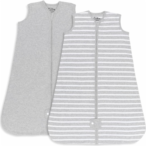 Sleep Bag for Baby, 2 Pack, Breathable Wearable Blanket Swaddle for Newborns (Gray, Small) Perspective: front