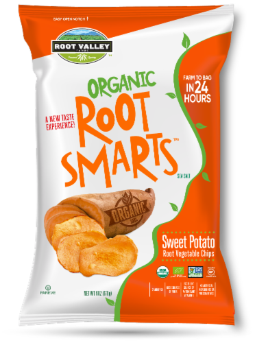 Root Valley Farms Root Smarts Organic Sweet Potato Vegetable Chips Perspective: front