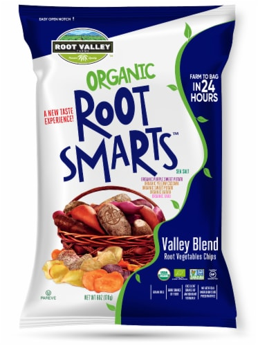 Root Valley Farms Root Smarts Organic Valley Blend Vegetable Chips Perspective: front