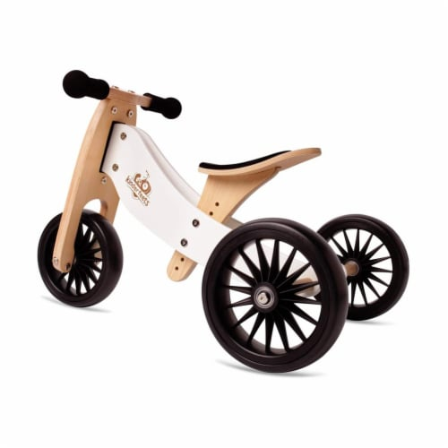 Kinderfeets Tiny Tot PLUS Toddler 2-in-1 Balance Bike and Tricycle, White Perspective: front