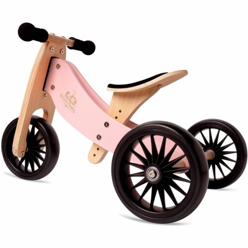 Kinderfeets Tiny Tot PLUS Toddler 2-in-1 Balance Bike and Tricycle, Rose Perspective: front