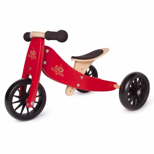 Kinderfeets Tiny Tot Toddler 2-in-1 Balance Bike and Tricycle, Cherry Red Perspective: front