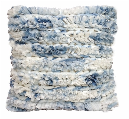 Chicos Home Fluffy Handloom Woven Decorative Throw Pillow - Blue/White Perspective: front