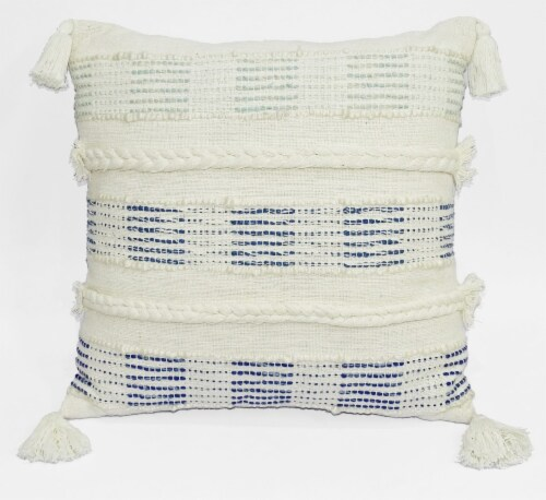Chicos Home Decorative Handloom Woven Throw Pillow - White/Blue Perspective: front