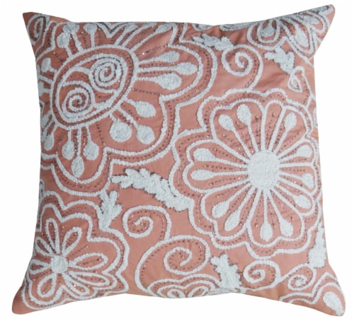 Chicos Home Nature Inspired Coral Peacock Embroidered Throw Pillow Cover - Coral/White Perspective: front