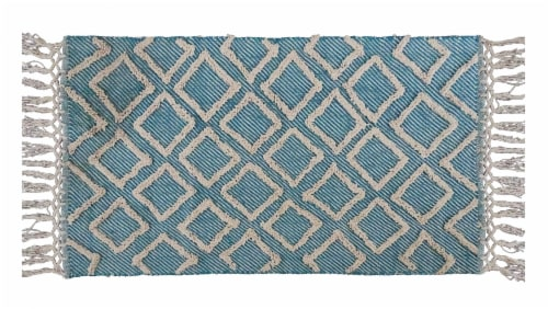 Chicos Home Modern Area Accent Rug with Fringes - Blue/White Perspective: front