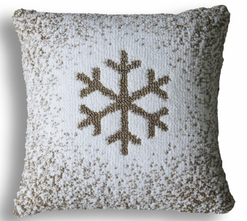 Chicos Home Christmas Snowflake Pillow Cover - White Perspective: front