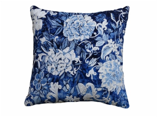 Chicos Home Hand Illustrated Throw Pillow Cover - Blue/White Perspective: front