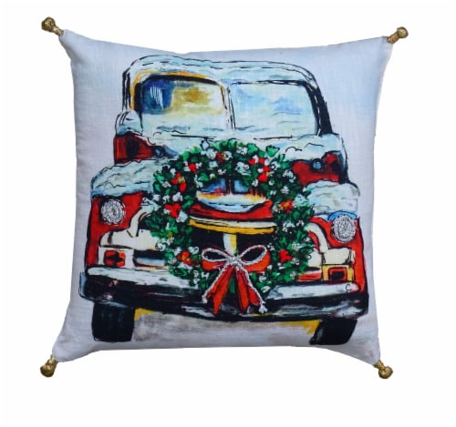 Chicos Home Holiday Car Christmas Pillow Cover Perspective: front