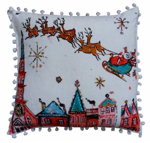 Chicos Home Santa Ride Christmas Pillow Cover Perspective: front