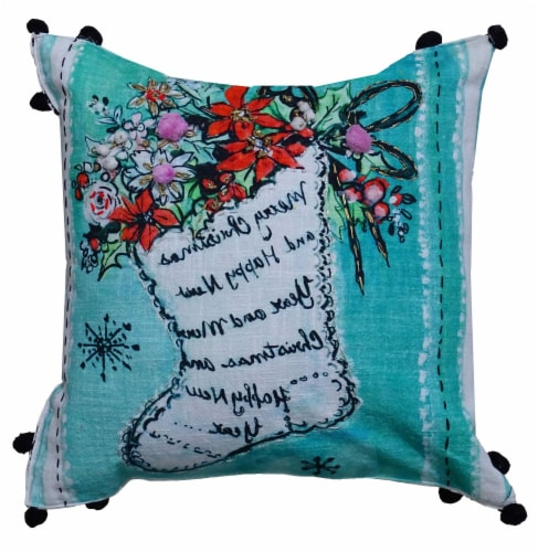 Chicos Home Stocking Christmas Pillow Cover Perspective: front