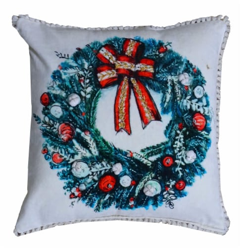 Chicos Home Wreath Christmas Pillow Cover Perspective: front