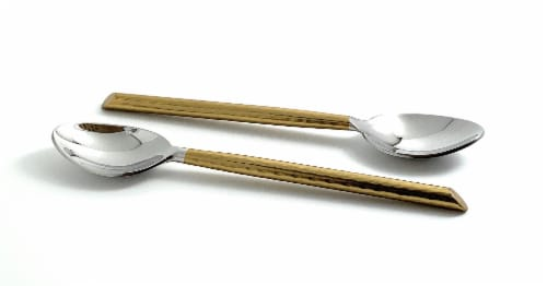 Vibhsa Golden Cut Hammered Dessert Spoons Perspective: front