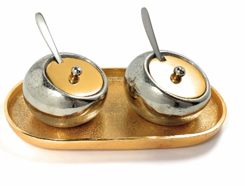 Vibhsa Decorative Mini Silver Condiment Pots with Spoons & Golden Tray Perspective: front