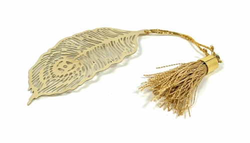 Vibhsa Feather Bookmark with Tassel - Golden Finish Perspective: front