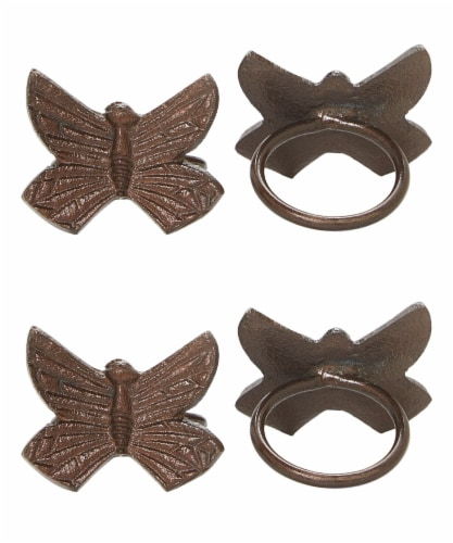 Vibhsa Butterfly Antique Napkin Rings - Copper Perspective: front
