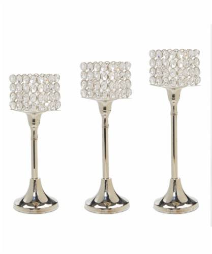 Vibhsa Hurricane Candle Crystal Holders Set 3 Pack - Silver Perspective: front