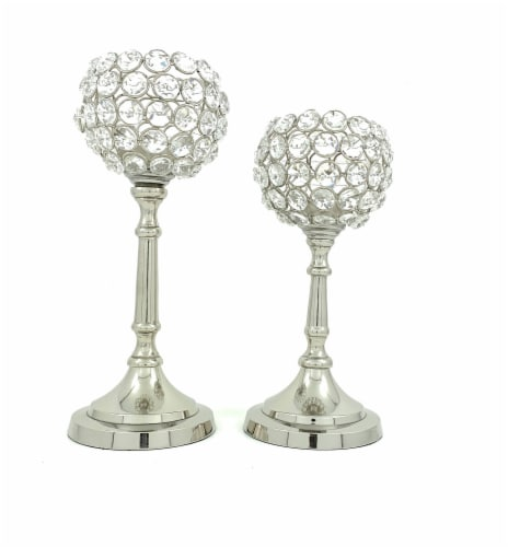 Vibhsa Hurricane Crystal Candle Holders Set - Silver Perspective: front
