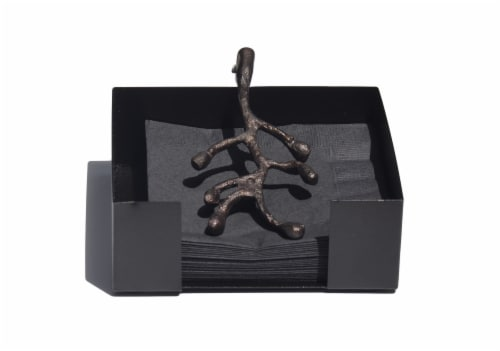 Vibhsa Cocktail Napkin Holder - Antique Copper Olive Perspective: front