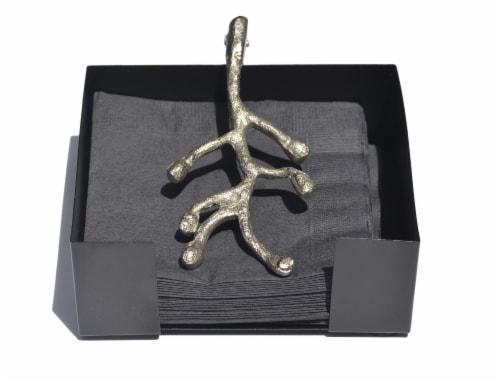 Vibhsa Cocktail Napkin Holder - Antique Silver Olive Perspective: front