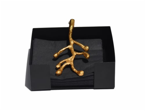 Vibhsa Olive Branch Cocktail Napkin Holder - Gold Perspective: front