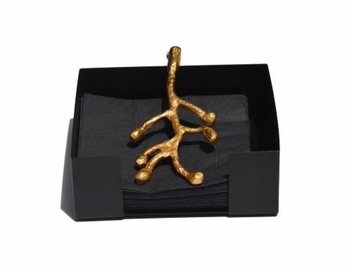 Vibhsa Olive Branch Cocktail Napkin Holder - Gold Perspective: front
