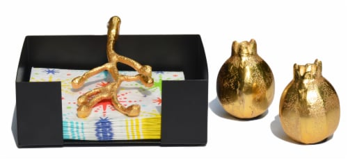 Vibhsa Napkin Holder & Salt and Pepper Shaker Set - Gold Perspective: front