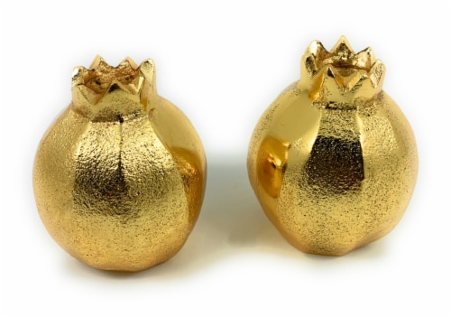 Vibhsa Pomegranate Salt and Pepper Shakers 2 Piece - Gold Perspective: front