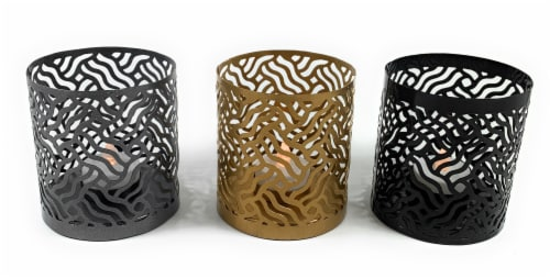 Vibhsa Votive Candle Holder Set 3 Pack - Gray/Gold/Black Perspective: front