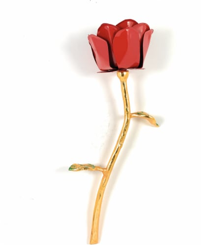 Vibhsa Handcrafted Metal Red Rose - Gold/Red Perspective: front