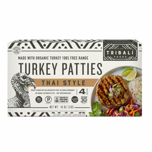TRIBALÍ Foods Thai Turkey Patties 4 Packages (Approximate Delivery 3-6 Days) Perspective: front
