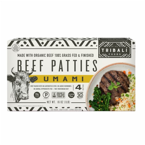TRIBALI Foods Umami Beef Patties 4 Packages (Approximate Delivery 3-6 Days) Perspective: front