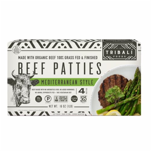 TRIBALÍ Foods Mediterranean Beef Patties 4 Packages (Approximate Delivery 3-6 Days) Perspective: front