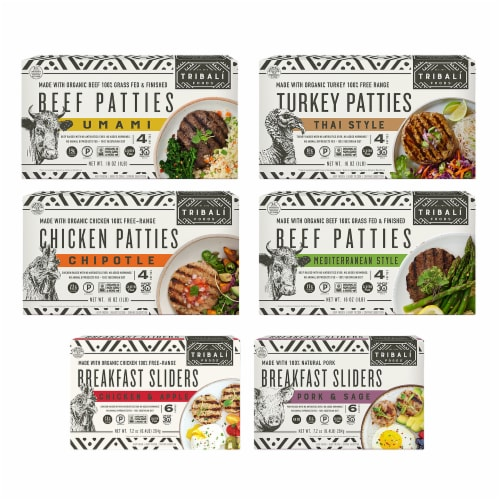 TRIBALÍ Foods Patties Variety Pack 6 Packages (Approximate Delivery 3-6 Days) Perspective: front