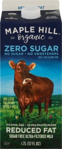 Maple Hill Organic Sugar Free Ultra-Filtered Reduced Fat Milk Perspective: front